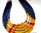 Vibrant 5 Strand Wood Beaded Collar Necklace in Mix of Yellow and Blue