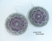 Zulu Beadwork Inspired Earrings in Lilac and Silver