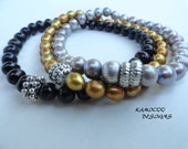 Genuine Cultured Pearl Stretch Bracelet Set in Silver, Gold and Black Pearls
