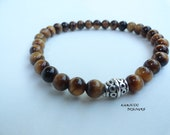 Unisex Stretch Tiger's Eye Prayer Bead Bracelet
