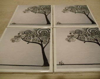 Tree of life decorative coasters 4x4 ceramic tiles FREE SHIPPING