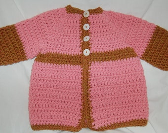 Vintage yarn sweater in pink brownie jacket vintage pearlized buttons