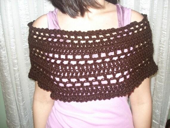Brown bohemian cowl scarf