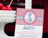 DIY Printable Invitation -Ahoy It's a Boy Baby Shower- Nautical- Personalized