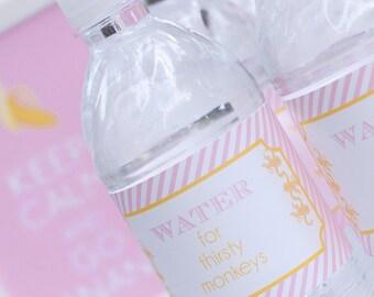 Monkey Party Water Bottle Label- DIY INSTANT DOWNLOAD