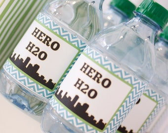 DIY Printable Water Bottle Labels - Superhero Party