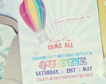 Rainbow Hot Air Balloon Birthday Invitation- Printable