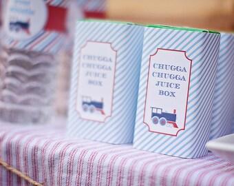 Train Party Juice Box Labels- DIY, printable, instant download