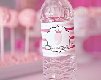 DIY Printable Water Bottle Labels - Princess Party