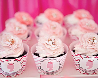 DIY Printable Cupcake Wrappers - Princess Party - Customized