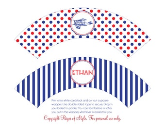 DIY Printable Cupcake Wrappers - Airplane Party - Customized