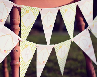 DIY Printable Birthday Banner - Garden Tea Party