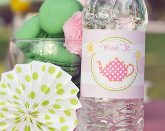 DIY Printable Water Bottle Labels - Garden Tea Party