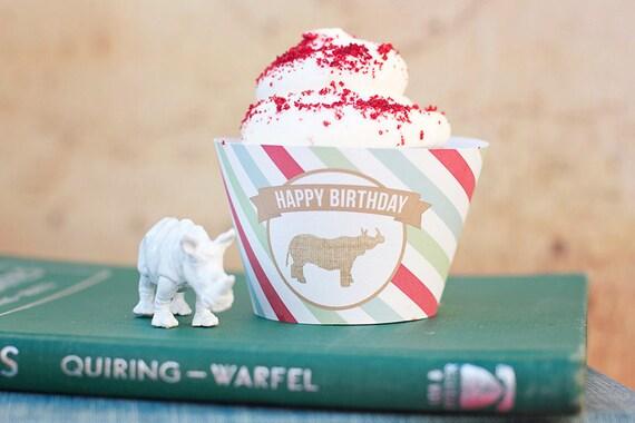 DIY Printable Cupcake Wrappers - Zoo/Safari Party