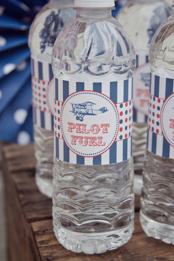 Printable Airplane Water Bottle Labels