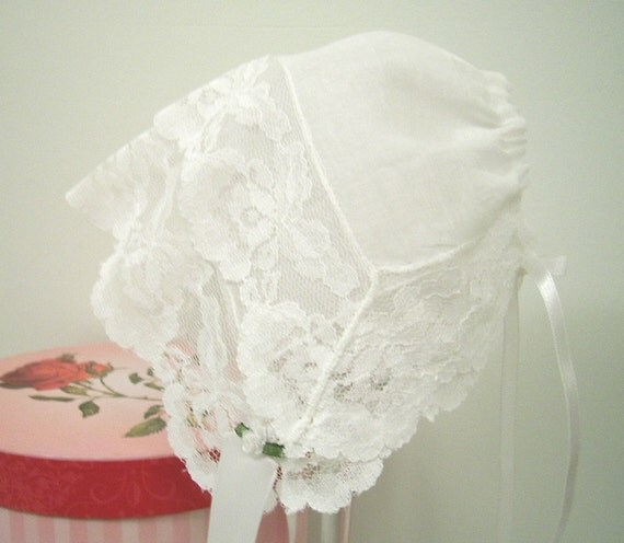 Vintage Lace Baby Bonnet size 3 to 6 mo. One of a Kind, Heirloom Hanky Bonnet, Reclaimed Textiles, White Lace Christening Hat