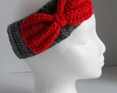 Red & Grey Bow Headband/Ear warmer