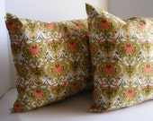 Green Peach Red Yellow and White Pillow Set
