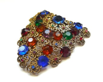 1940s Antiqued Filigree Brass Dress Clip with Colored Stones