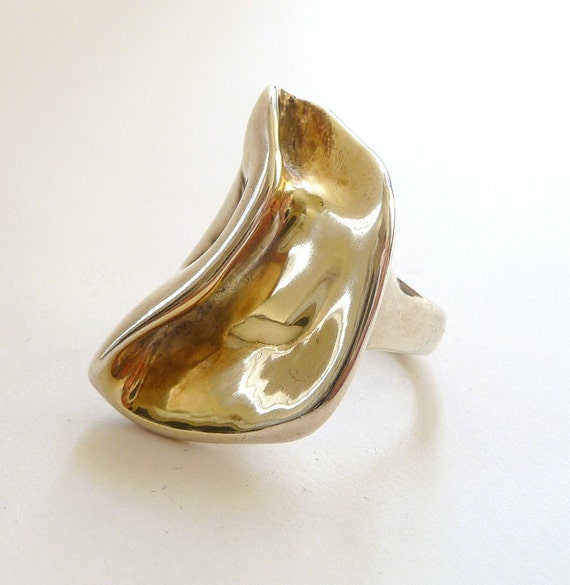 Modernist Organic Two Tone Sterling Silver Ring