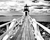 Nautical Photograph Lighthouse Marshall Point Print Black and White 12x18