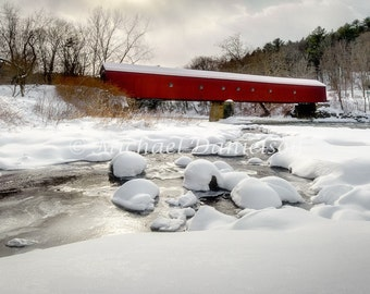 Covered Bridge Country Photograph Cornwall Connecticut Winter Print