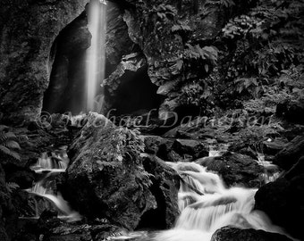 Stone Church Black and White Waterfall Photograph Print