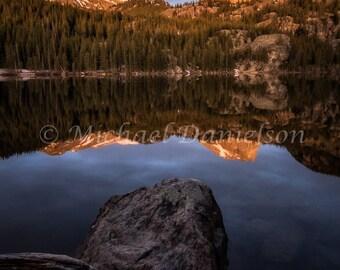Sunrise Morning Lake Mountain Reflection Colorado Landscape Print
