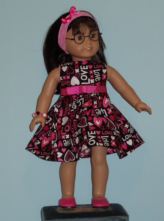 American Girl Doll Love and Hearts Dress Fits  Other 18 Inch Dolls