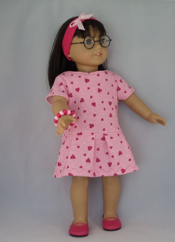 American Girl Doll Lots of Hearts Pink Knit Dress Fits Other 18 Inch Dolls