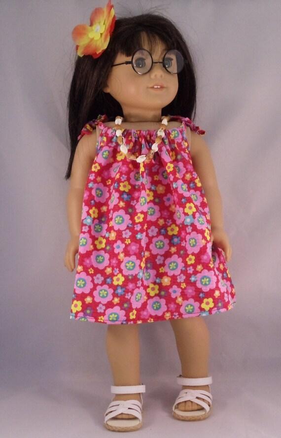 American Girl Doll Red Flower Hawaiian Luau Dress Fits Other 18 Inch Dolls