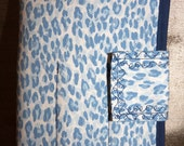 Blue White Animal Print Scissor Shear Makeup Paint Brush Case
