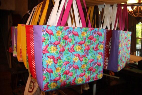 Flamingo Multi Large Tote Bag Beach School Work Travel