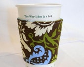 FREE SHIPPING ---Blue and Green Vines Eco-Friendly Coffee/Tea Sleeve --- Reuseable Gift