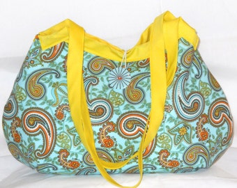 SALE Granny Bag in Blue and Orange Paisley --- READY to SHIP