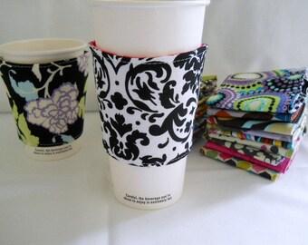 FREE Shipping - Eco-Friendly Coffee/Tea Sleeve --- Black/White Damask