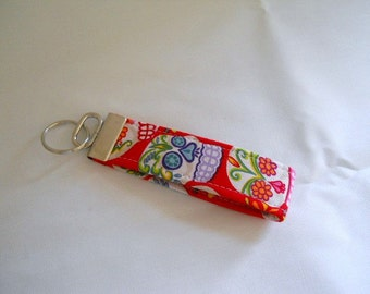 FREE SHIPPING ---- Wristlet Key Fob ---- Day of the Dead in Red