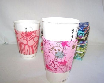 Eco-Friendly Coffee/Tea Sleeve --- Robert Kaufman Pink Skulls