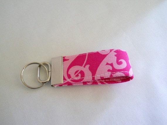 FREE SHIPPING ---- MINI Key Fob ---- Pink on Pink Damask