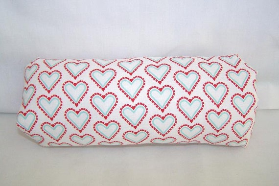 Reversible Car Seat ARM PAD Handle Cover -- Red White Blue Hearts and Polka Dots