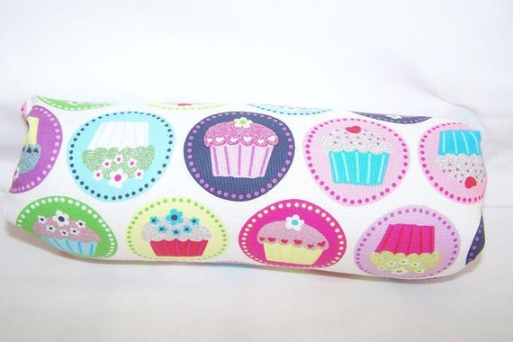 Reversible Car Seat ARM PAD Handle Cover -- Cupcakes and Swirls Pink Blue Yellow Green