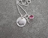 """Hand Stamped Sterling Silver """"Hope"""" Charm with a Sterling Silver Cross and Swarovski Crystal"""