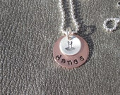 Personalized Dance Hand Stamped Necklace with TuTu Charm - Personalize with a Name - Dance Recital Gift