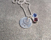 Volleyball Necklace - Personlaized Name - Hand Stamped Sterling Silver with Your Favorite Team Colors in Swarovski Crystals - Senior Night