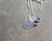Hockey Mom Necklace Hand Stamped Sterling Silver with Your Favorite Team Colors in Swarovski Crystals - Sports - Gifts for Mom