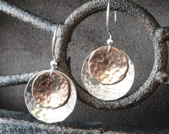 Sterling Silver and Copper Hammered Earrings - Gifts for Her