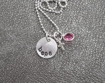"Hand Stamped Sterling Silver ""Hope"" Charm with a Sterling Silver Cross and Swarovski Crystal"
