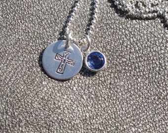Personalized Cross Hand Stamped Sterling Silver Cross Charm Necklace with Swarovski Crystal - First Communion Gift