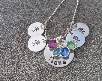 Personalized Nana Pendant and four Grandchildren Charms Hand Stamped Sterling Silver with Swarovski Crystals