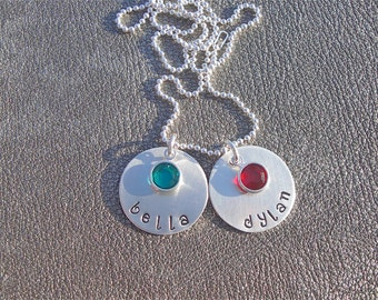 Two Personalized Name Necklace Sterling Silver Hand Stamped Pendants with Swarovski Crystals - Gifts for Her - Gifts for Mom - Mother's Day